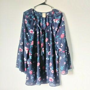 Blue Floral 3/4 Sleeve Blouse XXL Women plus